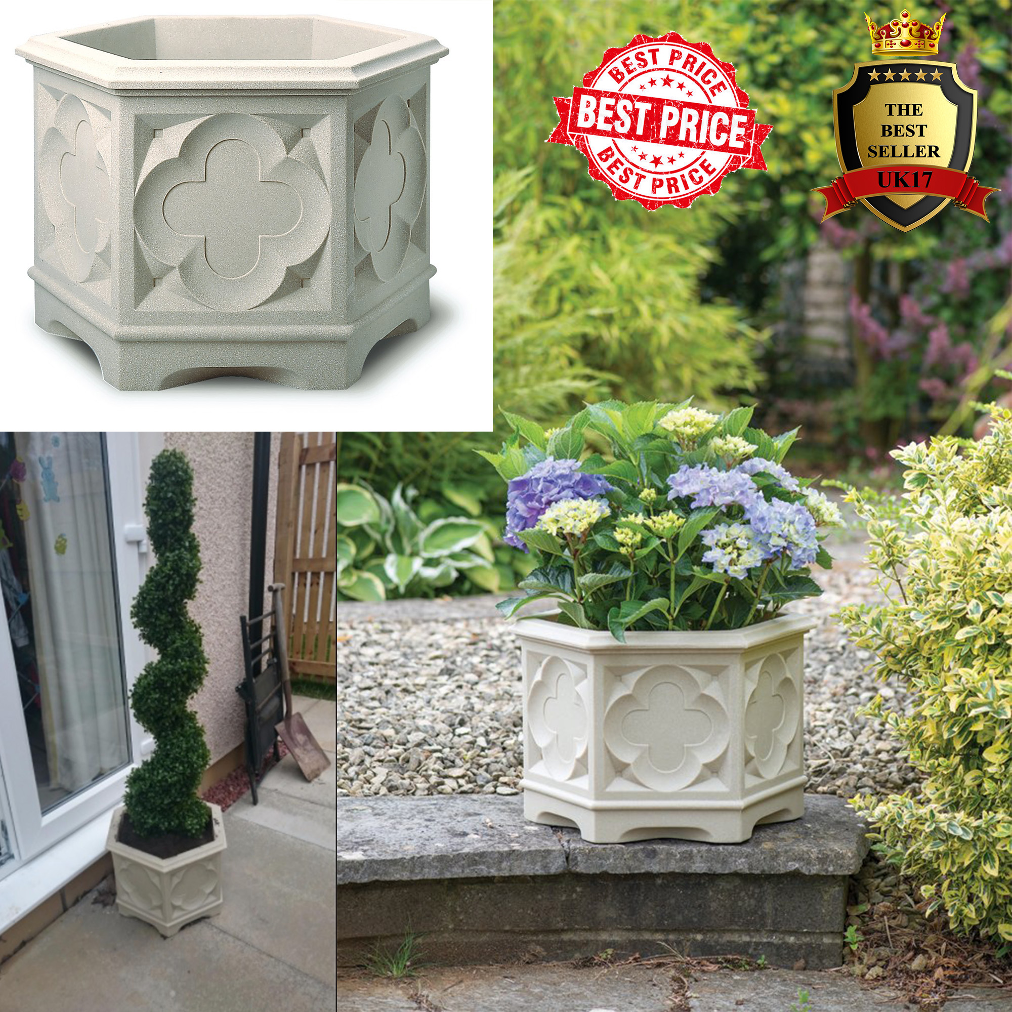 Outdoor outside garden planter large stone decorative for Large outdoor decorative rocks