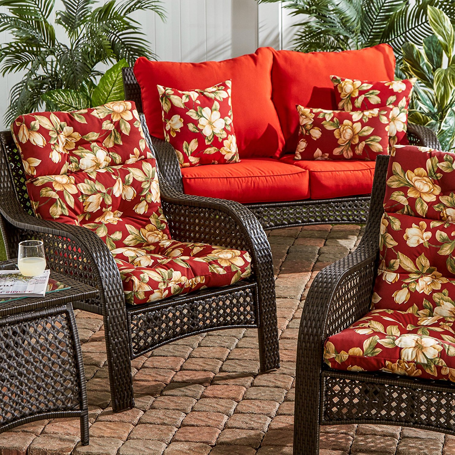 Outdoor patio high back cushion red replacement for deep - Deep seat patio cushions replacements ...