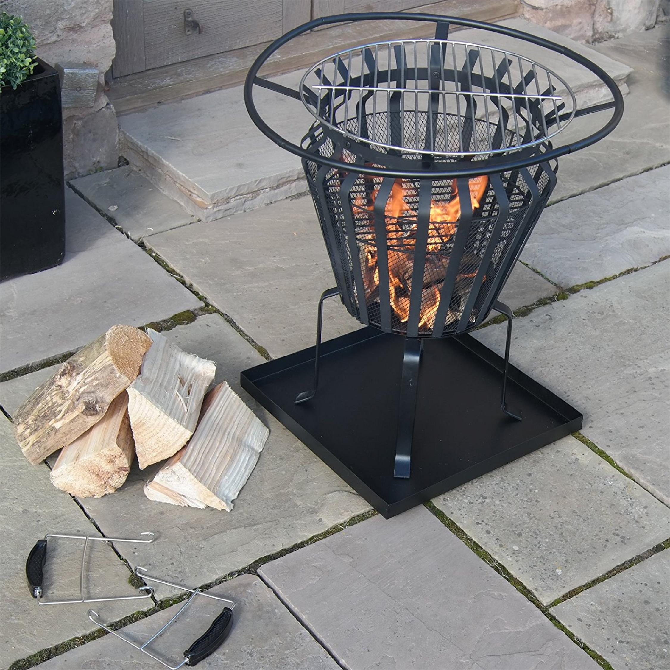 Heater Fire Basket Metal Outdoor Patio Log Burner