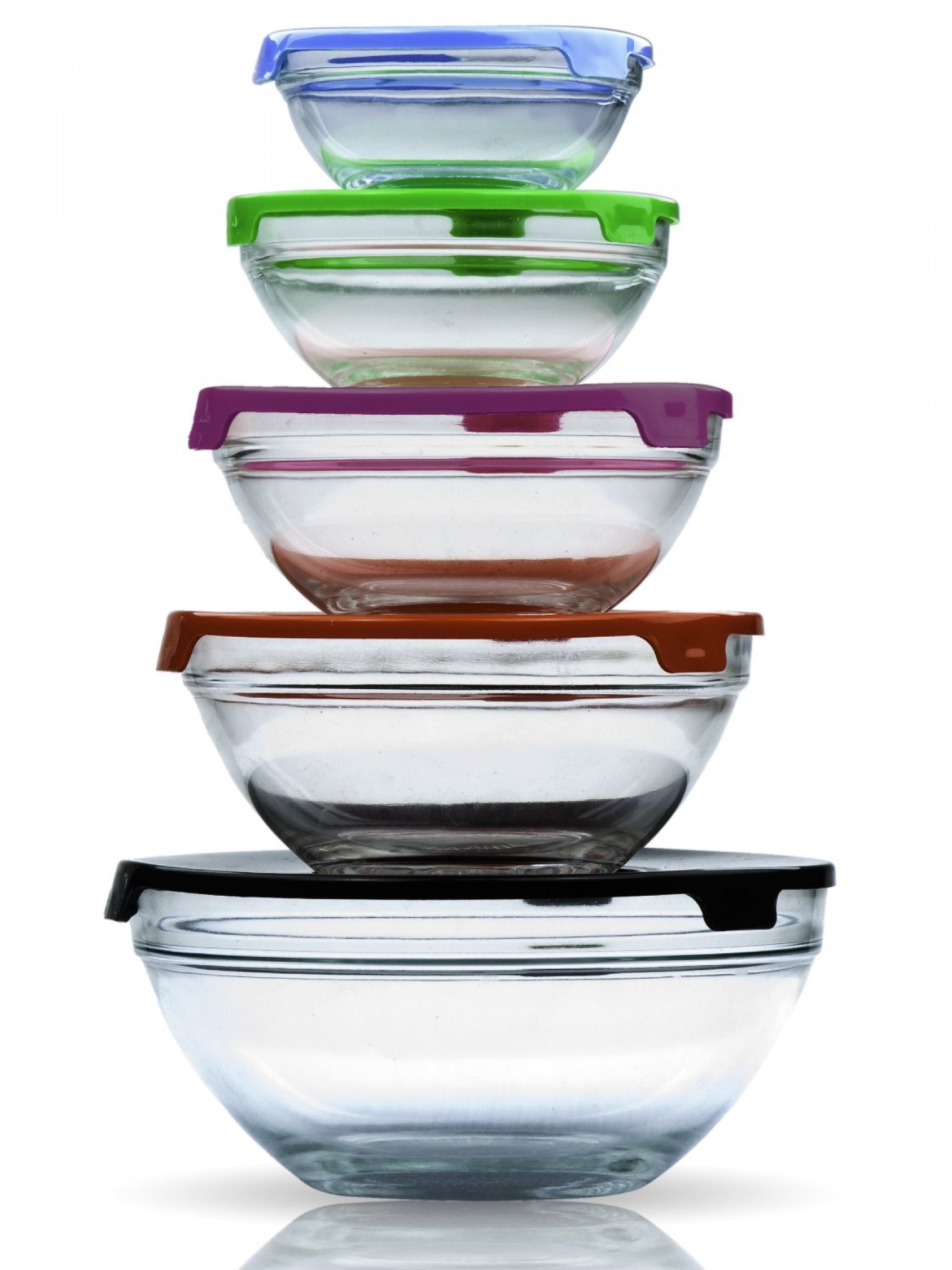 Lunch Bowls W Lids Kitchen Stackable Food Glass Storage Containers Box Set Of 5 Ebay