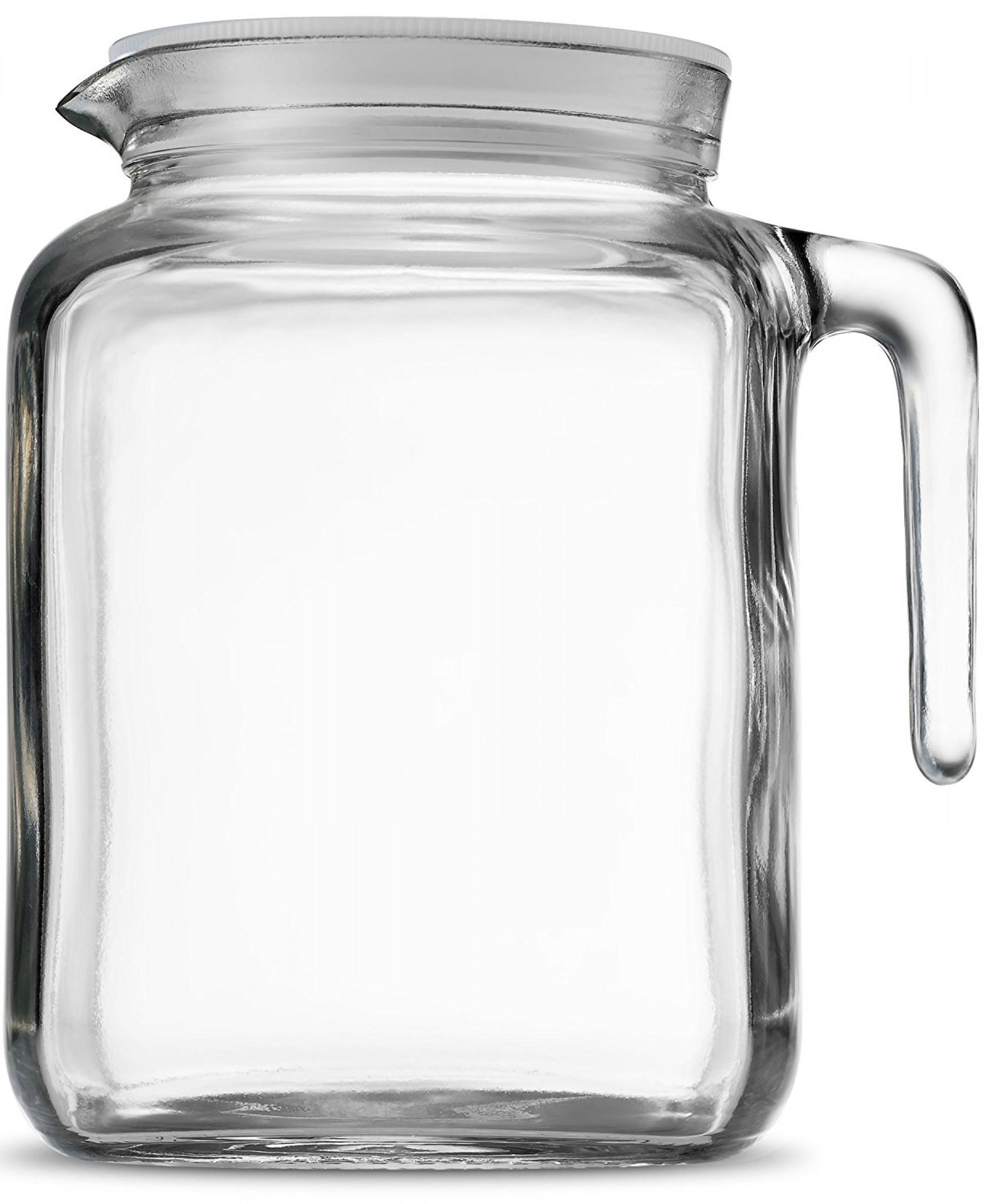 Image Is Loading Square Gl Pitcher Bottle Lid Spout Milk Beverage