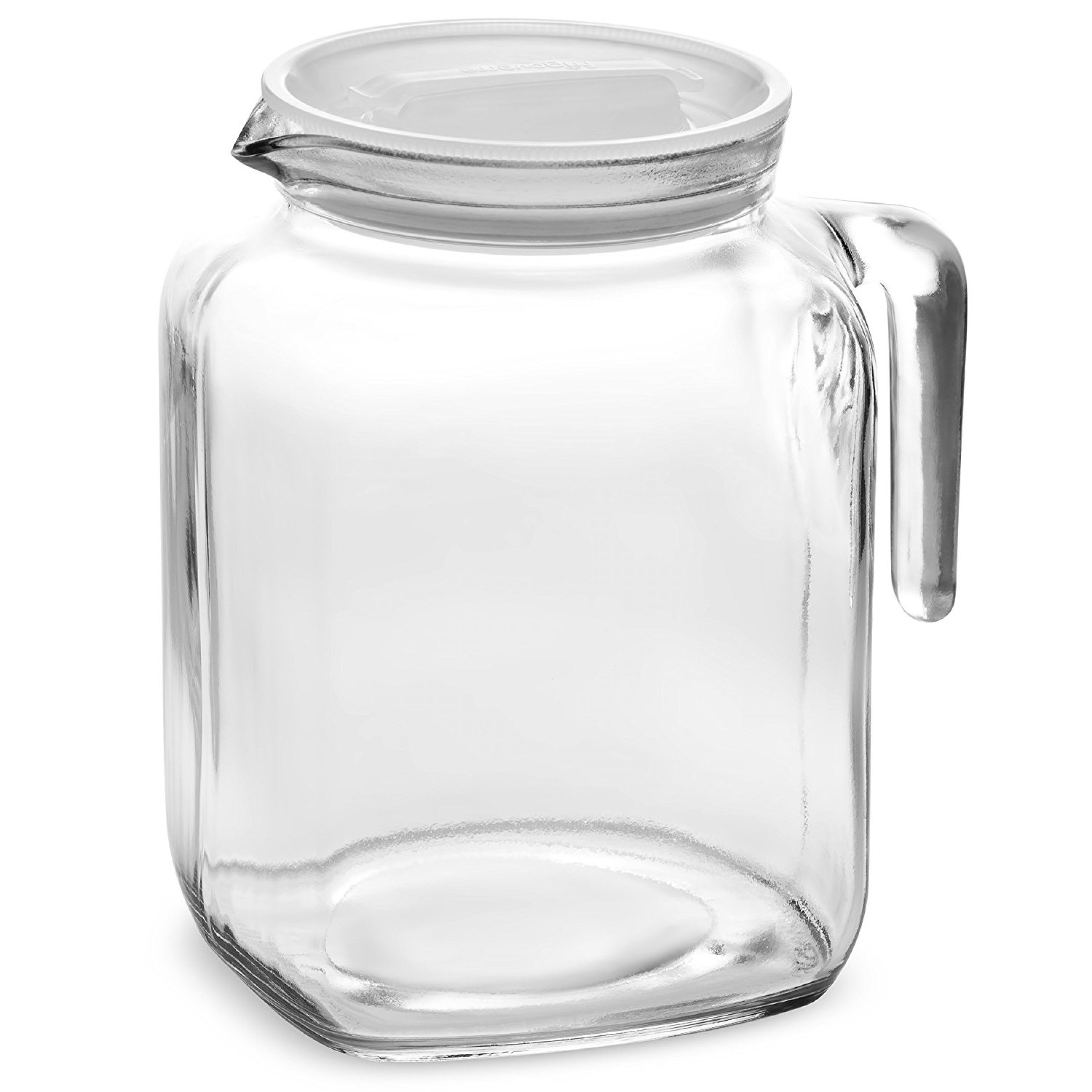 Square Gl Pitcher Bottle Lid Spout Milk Beverage