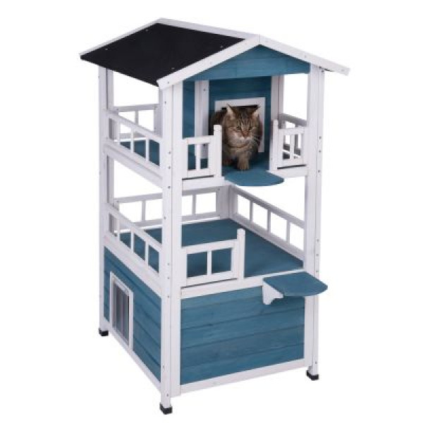 Cat Penthouse Outdoor Wooden House Kitty Den Shelter Kennel ...