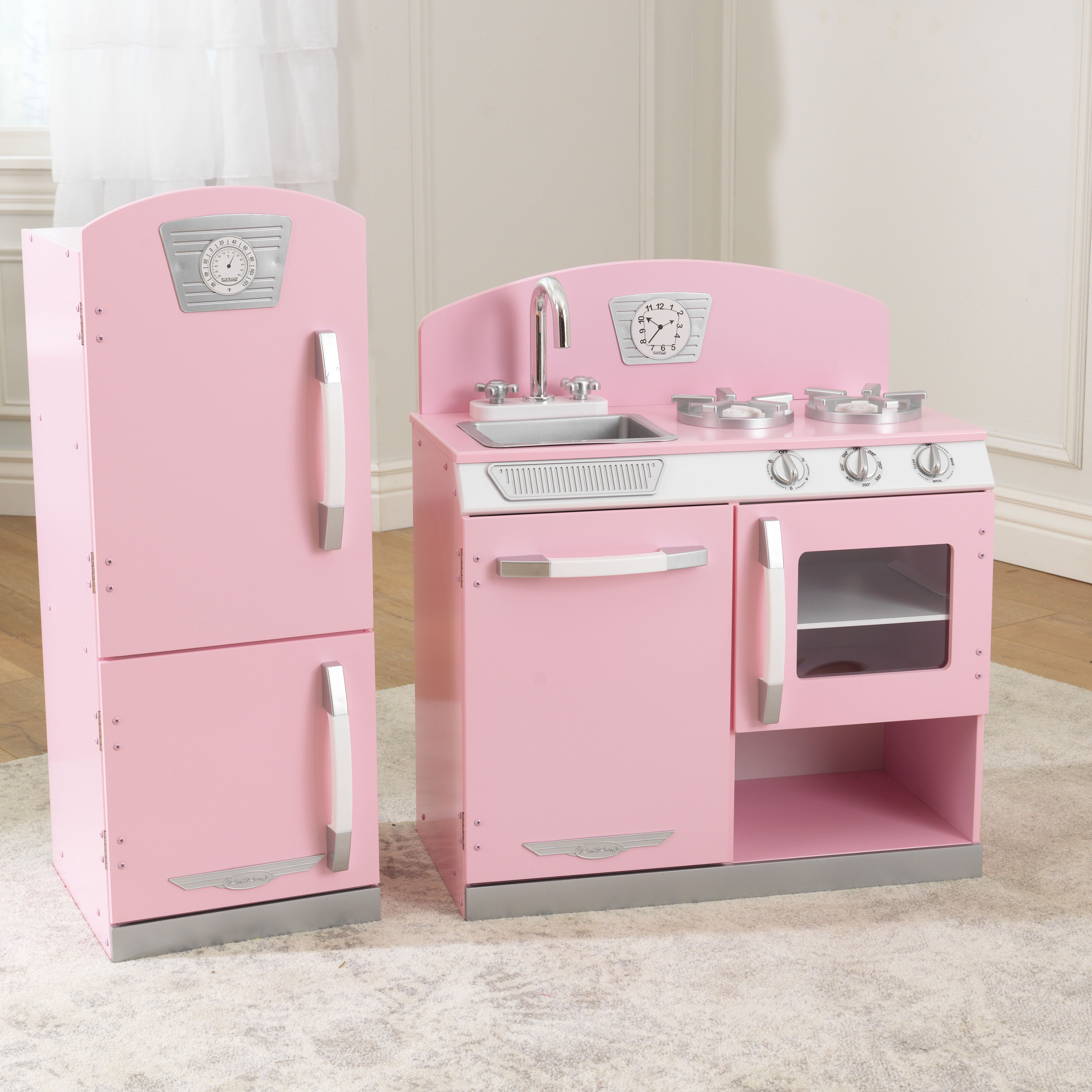Image Is Loading Girls Pink Play Kitchen Amp Refrigerator Retro Kids