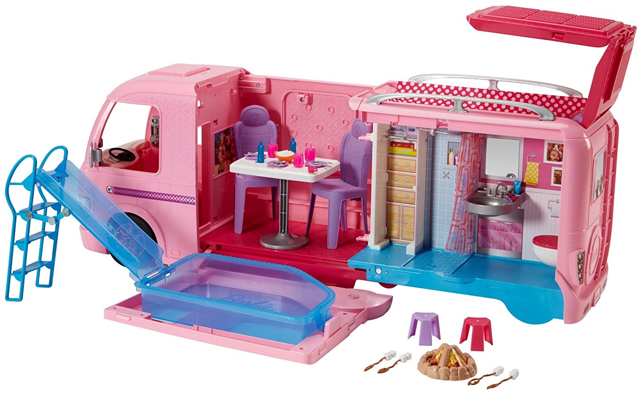 Bus Toys For Girls : Barbie camper van bus campsite playset doll girl camping