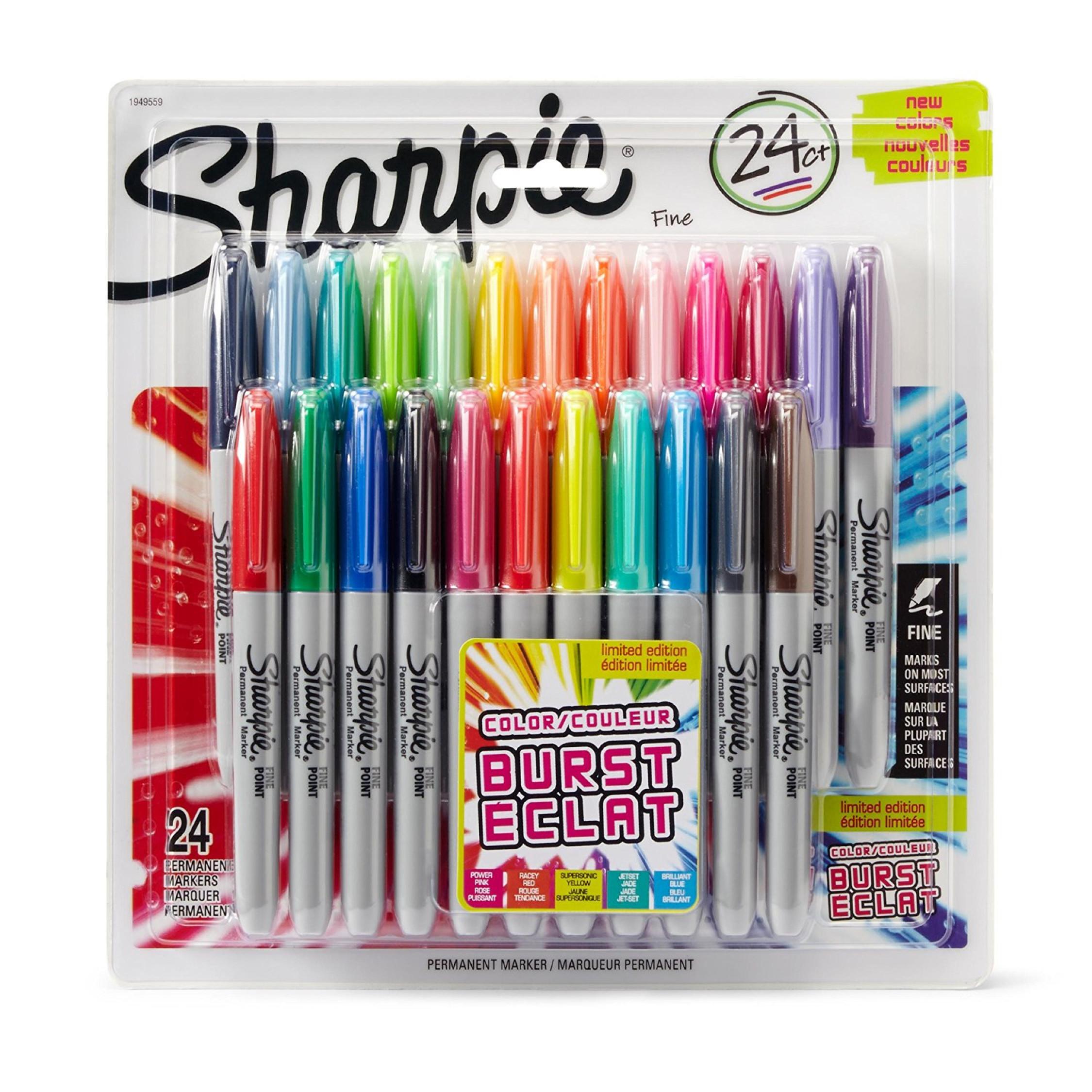 fine point permanent burst markers set assorted colors art pen 24 pack pens 616161098956 ebay. Black Bedroom Furniture Sets. Home Design Ideas