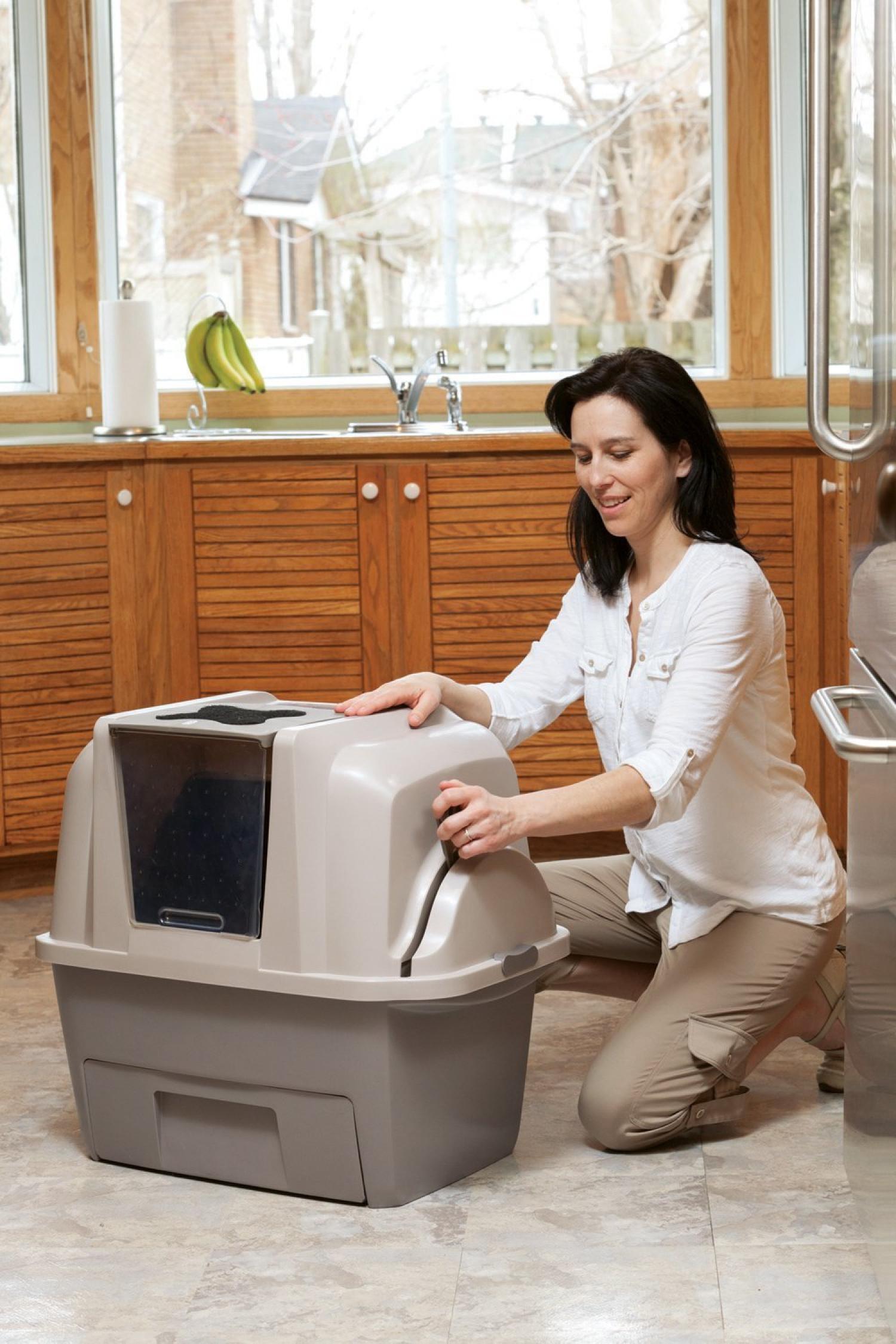 auto nettoyage chat liti re bac smart automatique pan couvercle couvert ebay. Black Bedroom Furniture Sets. Home Design Ideas