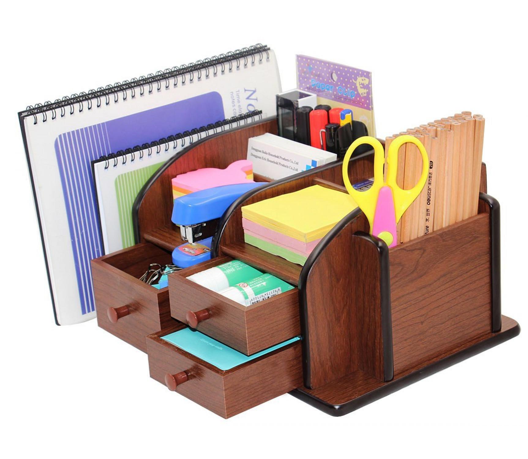 Image Is Loading Wooden Desk Organizer Office Supplies Accessories Storage  Drawer