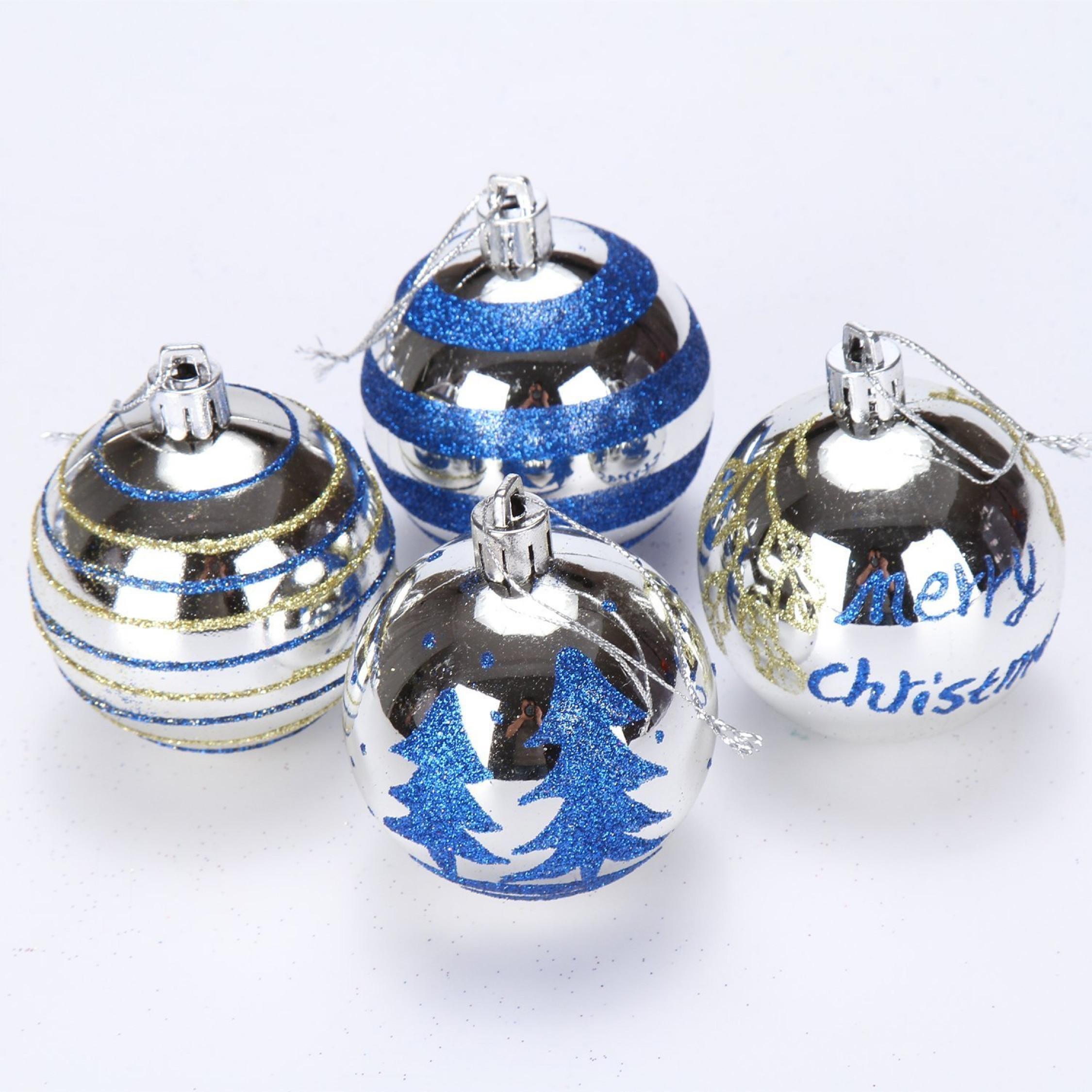 Blue Christmas Ball Ornaments Uk: Shatterproof Christmas Tree Pendants Silver Baubles Balls