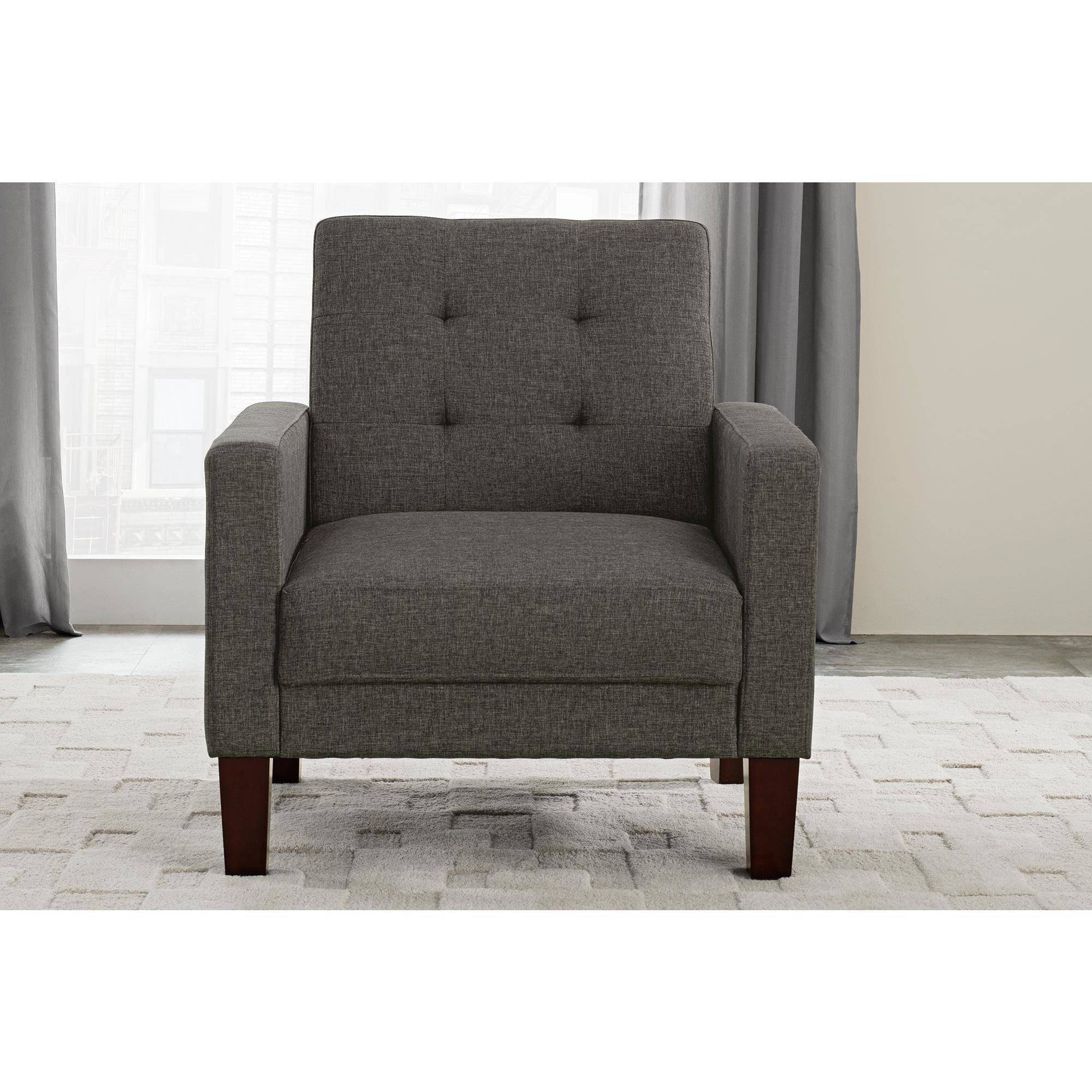 wood frame accent chairs. Accent-Chair-For-Living-Room-Gray-Linen-Upholstery- Wood Frame Accent Chairs H