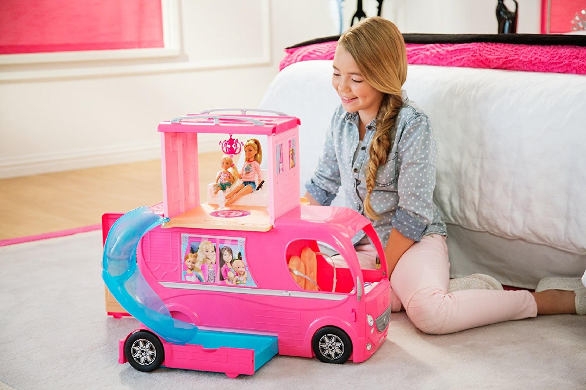 Bus Toys For Girls : Barbie pop up camper van bus car toys dolls girl