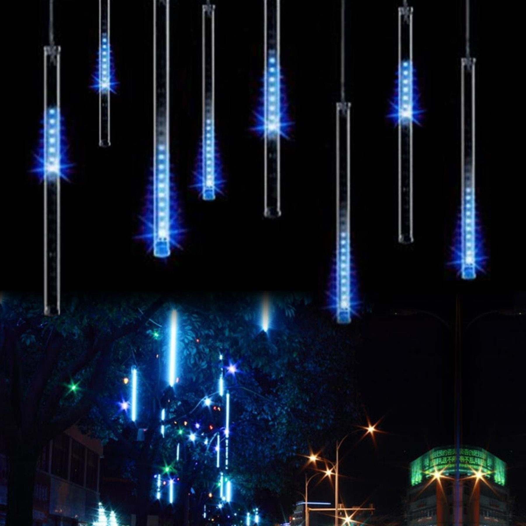 Waterproof Led Meteor Shower Rain Snow Falling Raindrop