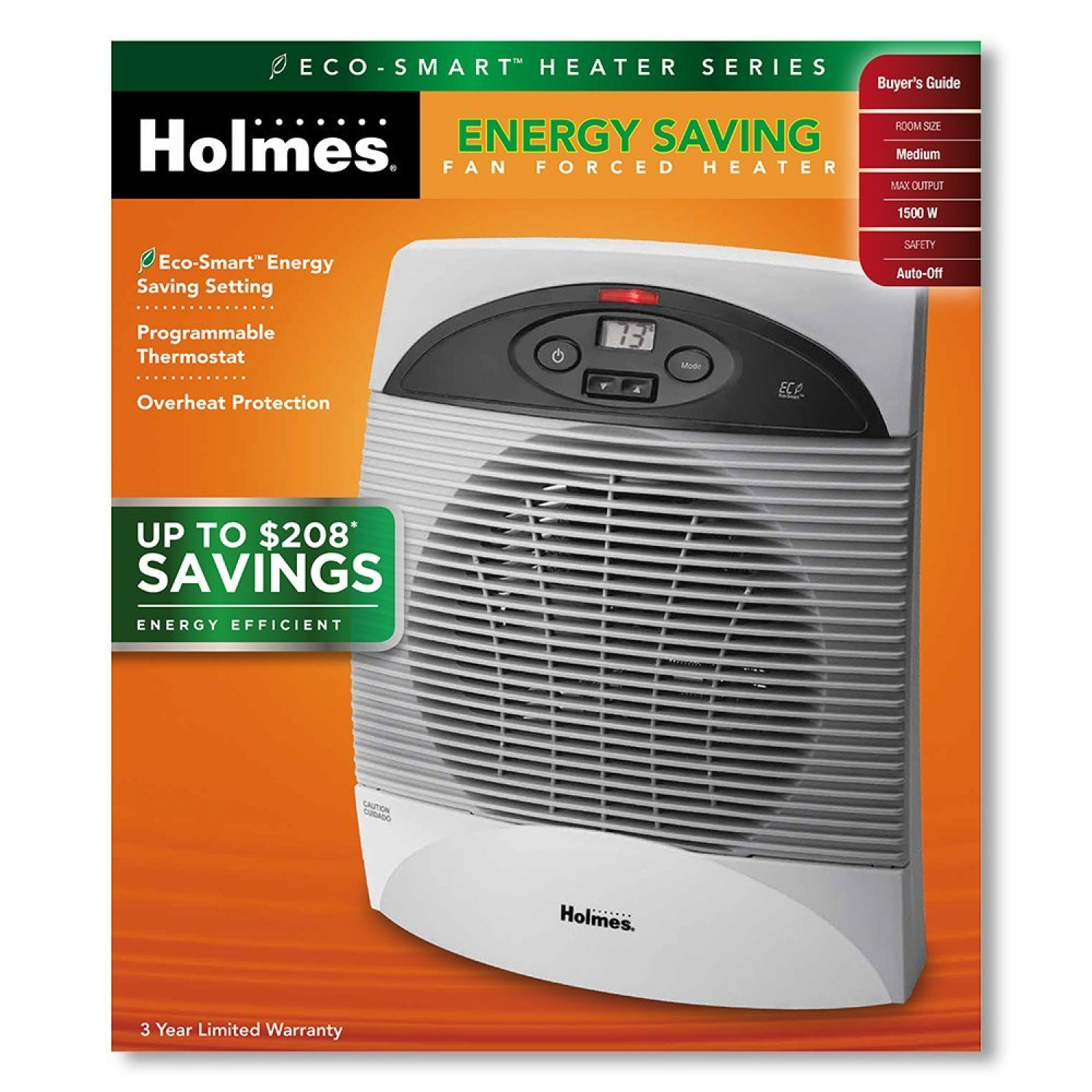 Energy Saver Space Heater With Thermostat Office Bedroom