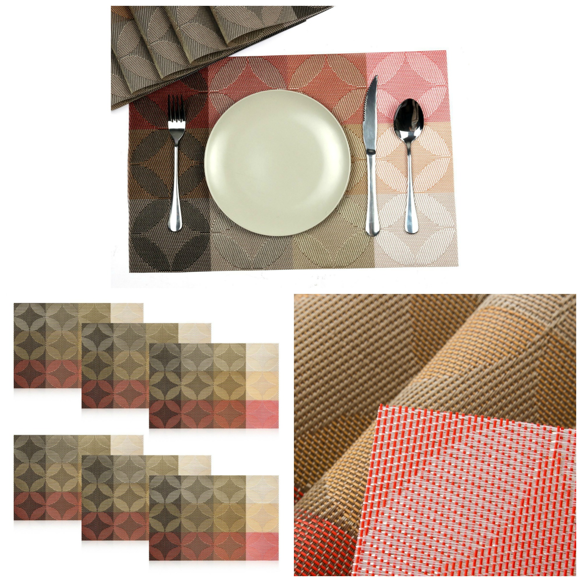 Placemats Set Of Square Washable Waterproof Place Mats For Dining - Conference table placemats