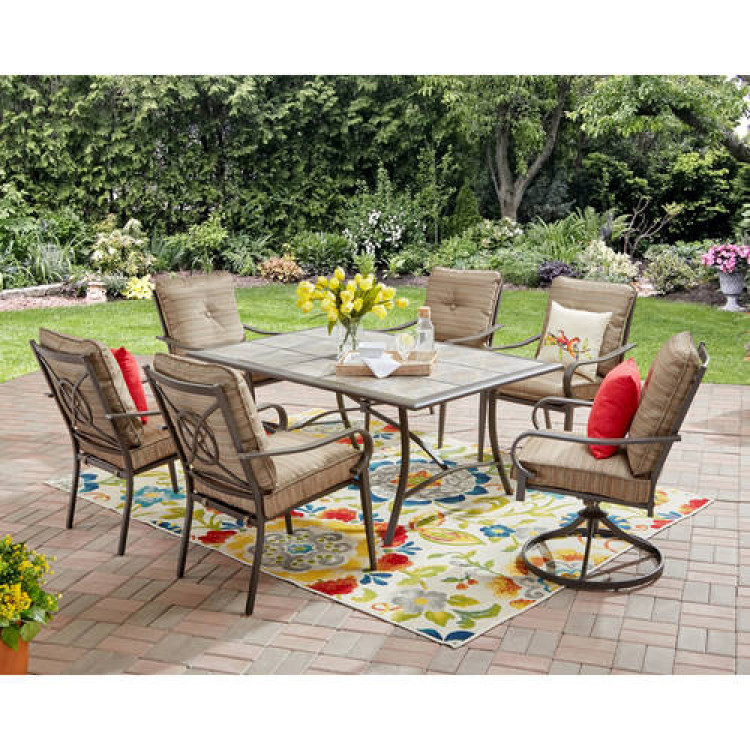 Image Is Loading 7 Piece Dining Set Brown 6 Seats Outdoor