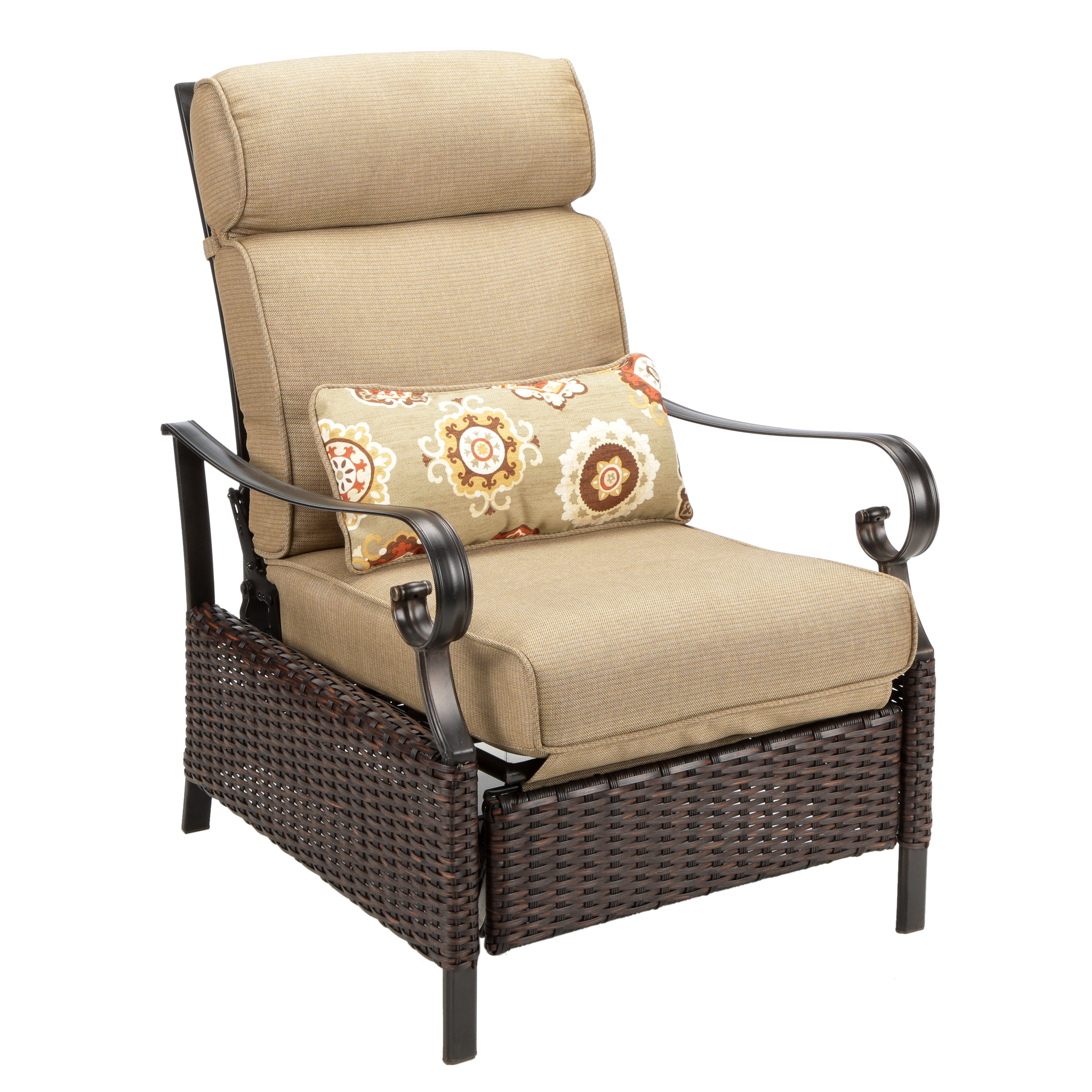 Outdoor Recliner Chair Tan Padded Cushion All Weather Wicker Patio