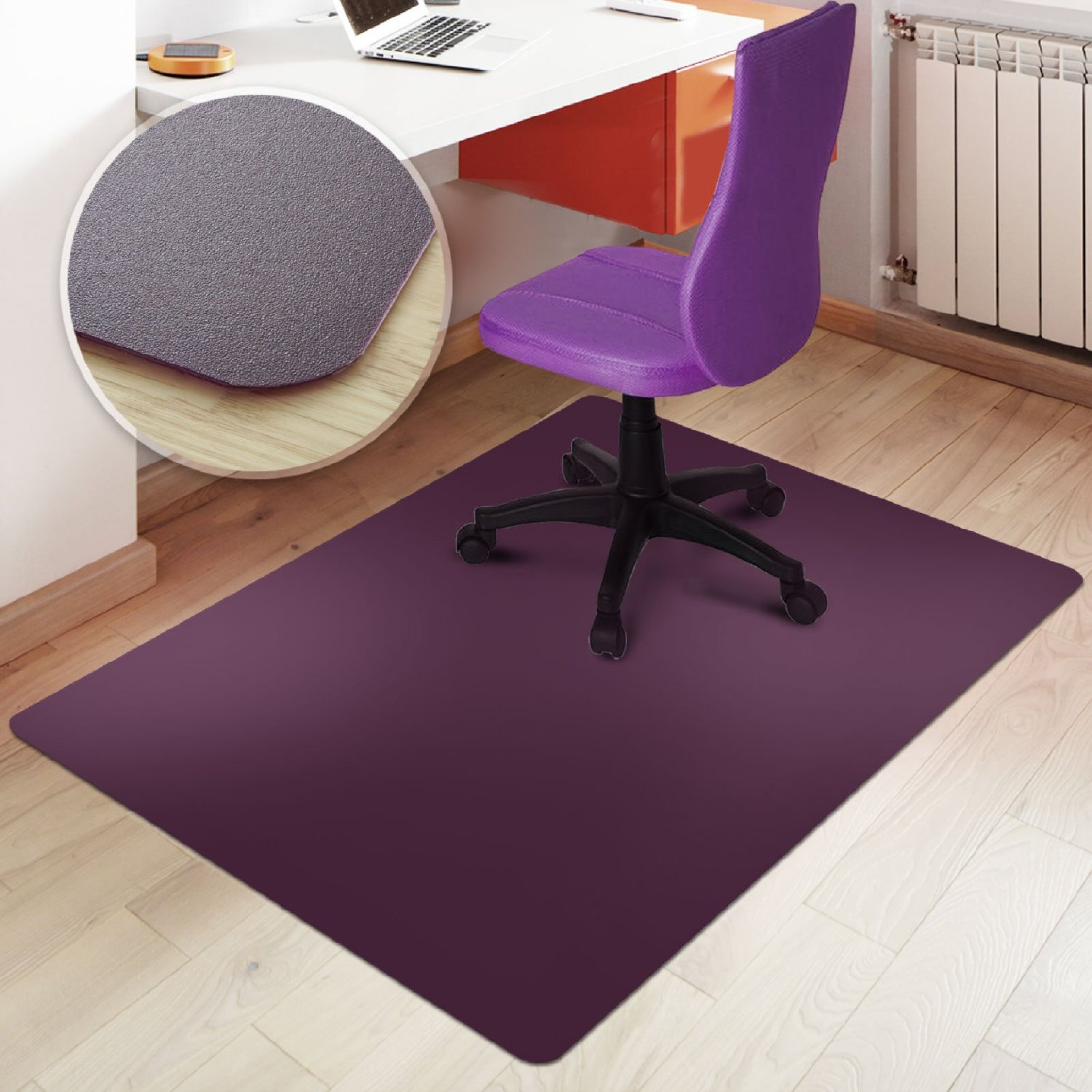 Rectangular Office Chair Mat Purple Hard Floor Protection ...