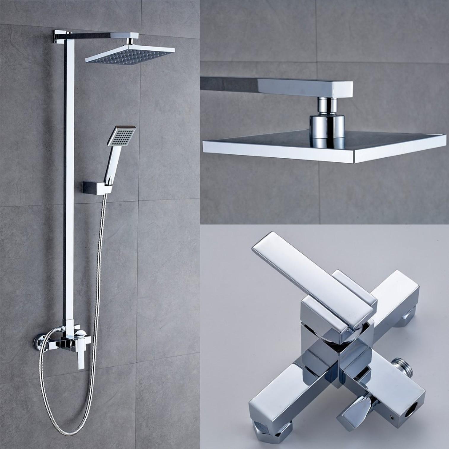 bathroom mixer shower set wit fixtures 8 shower head and handheld system holder ebay. Black Bedroom Furniture Sets. Home Design Ideas