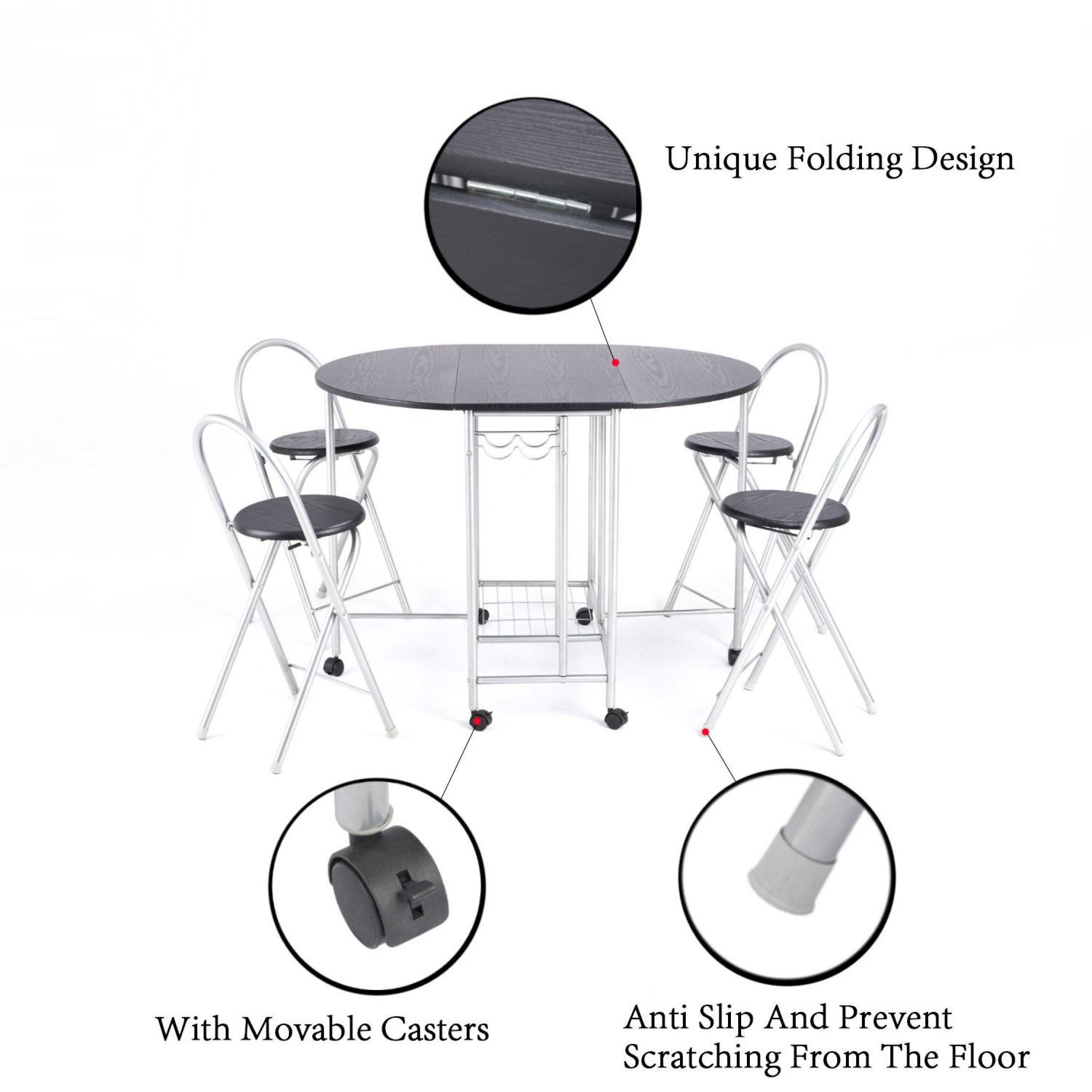 Foldable dining table and 4 chairs butterfly kitchen for Foldable kitchen set