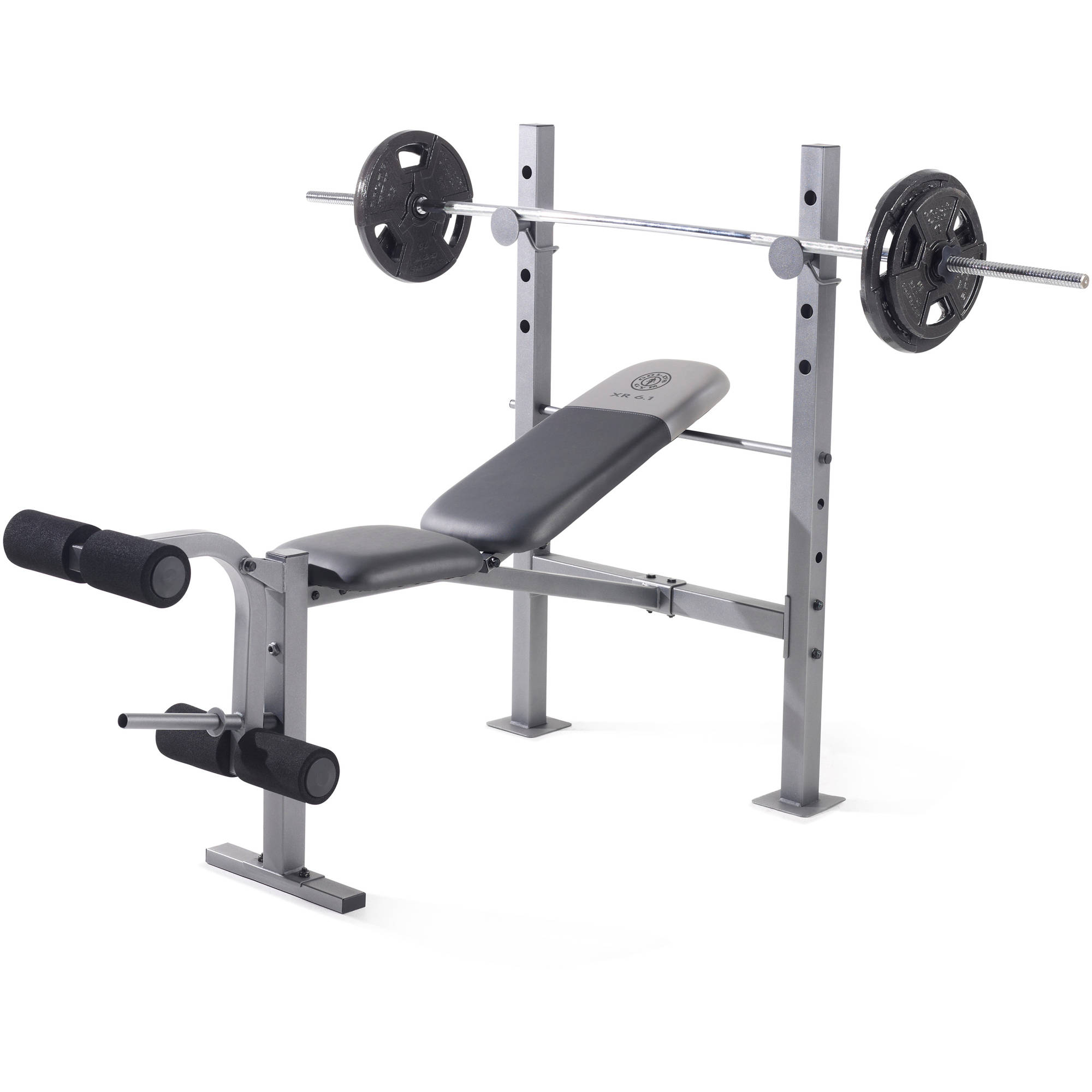 Weight Bench Olympic Set W Weights Adjustable Rack