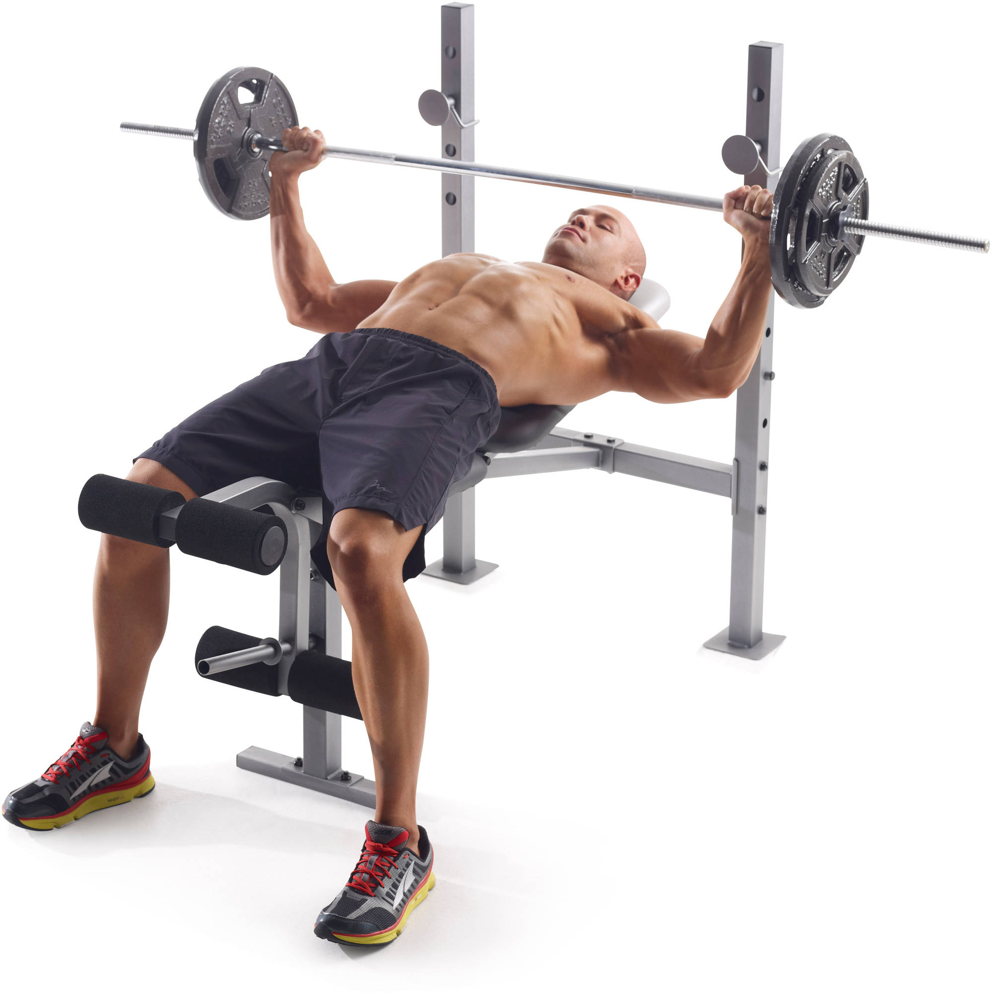 Weight Bench Olympic Set W Weights Adjule Rack