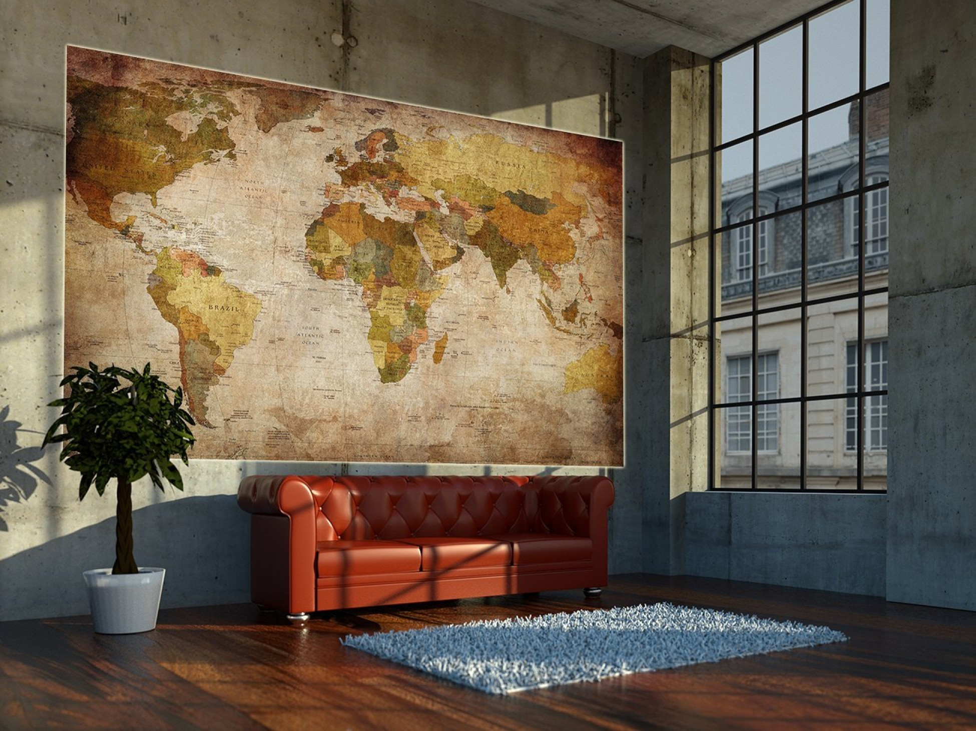 World map photo wallpaper mural vintage retro motif xxl for Antique mural wallpaper