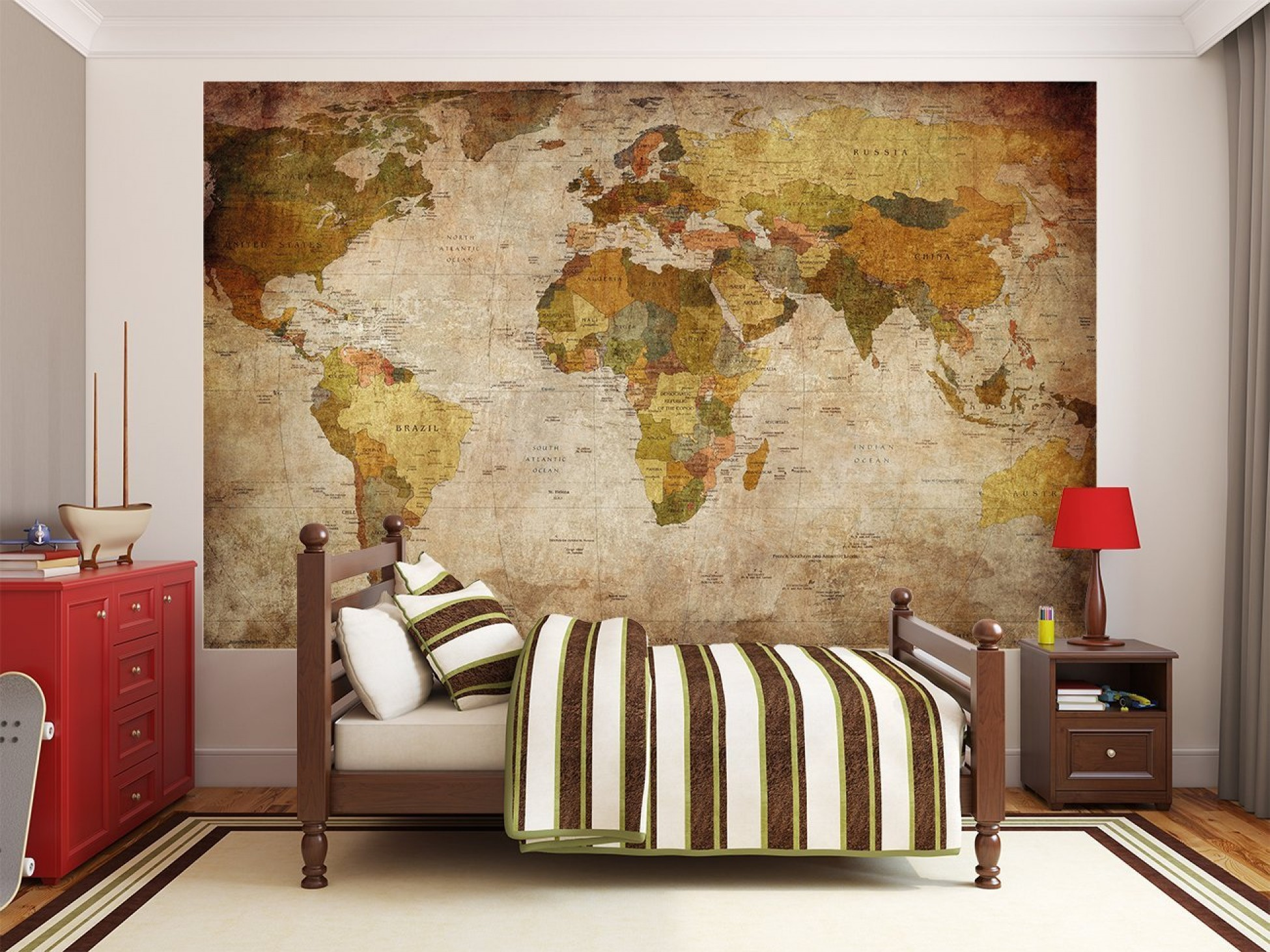 world map photo wallpaper mural vintage retro motif xxl